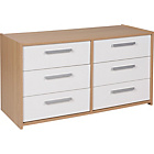 more details on New Sywell 3+3 Drawer Chest - Oak Effect and White Gloss.