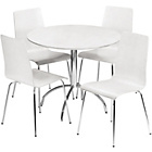 more details on Mandy Dining Table and 4 White Chairs.
