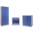 more details on Ottawa 3 Piece Kids Bedroom Furniture Set - Blue High Gloss.