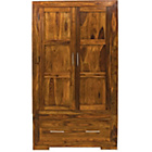 more details on Bengal 2 Door 1 Drawer Wardrobe - Dark Wood.