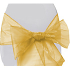 more details on Organza Pack of 6 Chair Bows - Gold.