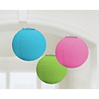more details on Paper Decorative Lantern Decorations - Pink/Green/Blue.