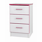 more details on Kiddi 3 Drawer Bedside Table - Pink.