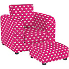 more details on Lara Children's Chair and Footstool Set - Pink Hearts.