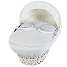 more details on Clair de Lune White Wicker Stardust Moses Basket - Cream.