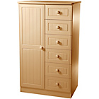 more details on Woodbridge 1 Door 6 Drawer Children's Wardrobe - Beech.