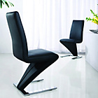 more details on Zed Pair of Chrome Dining Chairs - Black.