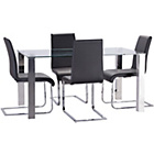 more details on Mezzi Dining Table and 4 Black Hue Chairs.