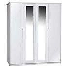 more details on Avola 4 Door Wardrobe with Mirror - White.