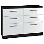 more details on Knightsbridge 6 Drawer Chest - Black and White.