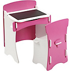 more details on Kidsaw Desk and Chair Set with Blackboard - Pink/White.