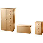 more details on Woodbridge Kids Wardrobe, Bedside Table and Box - Beech.