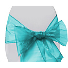 more details on Organza Pack of 6 Chair Bows - Turquoise Blue.