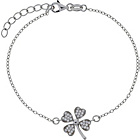 more details on Rhodium Plated CZ Good Luck Clover Charm Bracelet.