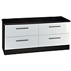 more details on Knightsbridge 4 Drawer Low Chest of Drawers - Black/White.