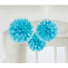 more details on Paper Decorative Pack of 3 Pom Pom Decoration - Blue.