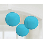 more details on Paper Decorative Pack of 3 Lantern Decorations - Blue.