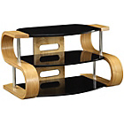 more details on Jual Small Oak Effect and Black Glass Curved TV Stand.