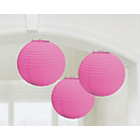 more details on Paper Decorative Pack of 3 Lantern Decorations - Pink.