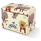 more details on Just4Kidz Upholstered Jungle Print Toy Box - Cream.