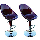 more details on Model 5 Curved ABS Resin Chrome Red Bar Stool - Set of 2.