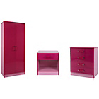 more details on Ottawa 3 Piece Kids Bedroom Furniture Set - Pink High Gloss.