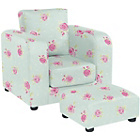 more details on Lara Children's Chair and Footstool Set - Rose Print.