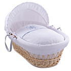 more details on Clair de Lune Natural Wicker Stardust Moses Basket - Blue.