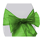 more details on Organza Pack of 6 Chair Bows - Green.