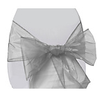 more details on Organza Pack of 6 Chair Bows - Silver.