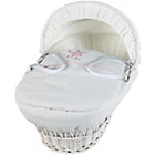 more details on Clair de Lune White Wicker Stardust Moses Basket - Pink.