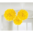 more details on Paper Decorative Pack of 3 Pom Pom Decorations - Yellow.