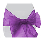 more details on Organza Pack of 6 Chair Bows - Purple.