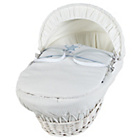 more details on Clair de Lune White Wicker Stardust Moses Basket - Blue.