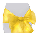 more details on Organza Pack of 6 Chair Bows - Yellow.