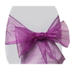 more details on Organza Pack of 6 Chair Bows - Violet.