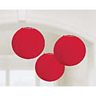 more details on Paper Decorative Pack of 3 Lanterns Decorations - Red.