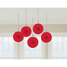more details on Paper Decorative Pack of 10 Fan Decorations - Red.