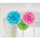 more details on Paper Decorative Pom Pom Decorations - Pink/Green/Blue.