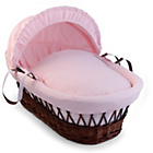 more details on Clair de Lune Dark Wicker Waffle Moses Basket - Pink.