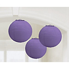 more details on Paper Decorative Pack of 3 Lanterns Decorations - Purple.