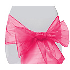more details on Organza Pack of 6 Chair Bows - Hot Pink.