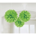more details on Paper Decorative Pack of 3 Pom Pom Decorations - Green.