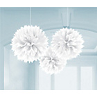 more details on Paper Decorative Pack of 3 Pom Pom Decorations - White.