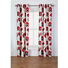 more details on Elissia Poppy Unlined Curtains - 168 x 229cm - Cream & Red.