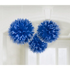 more details on Paper Decorative Pack of 3 Pom Pom Decorations - Royal Blue.