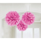 more details on Paper Decorative Pack of 3 Pom Pom Decorations - Pink.