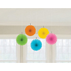 more details on Paper Decorative 10 Pack Fan Decorations - Blue/Yellow/Pink.