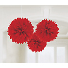 more details on Paper Decorative Pack of 3 Pom Pom Decorations - Red.
