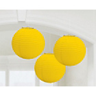 more details on Paper Decorative Pack of 3 Lanterns Decorations - Yellow.